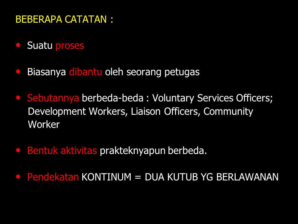 BEBERAPA CATATAN : Suatu proses. Biasanya dibantu oleh seorang petugas. Sebutannya berbeda-beda : Voluntary Services Officers;