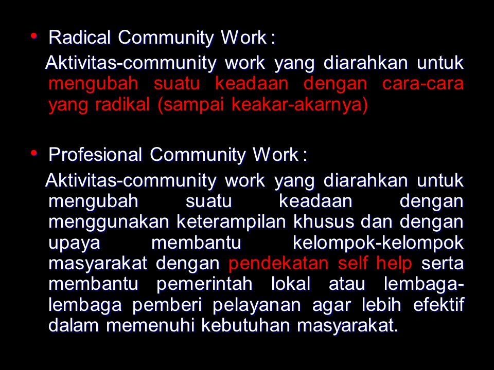 Radical Community Work :