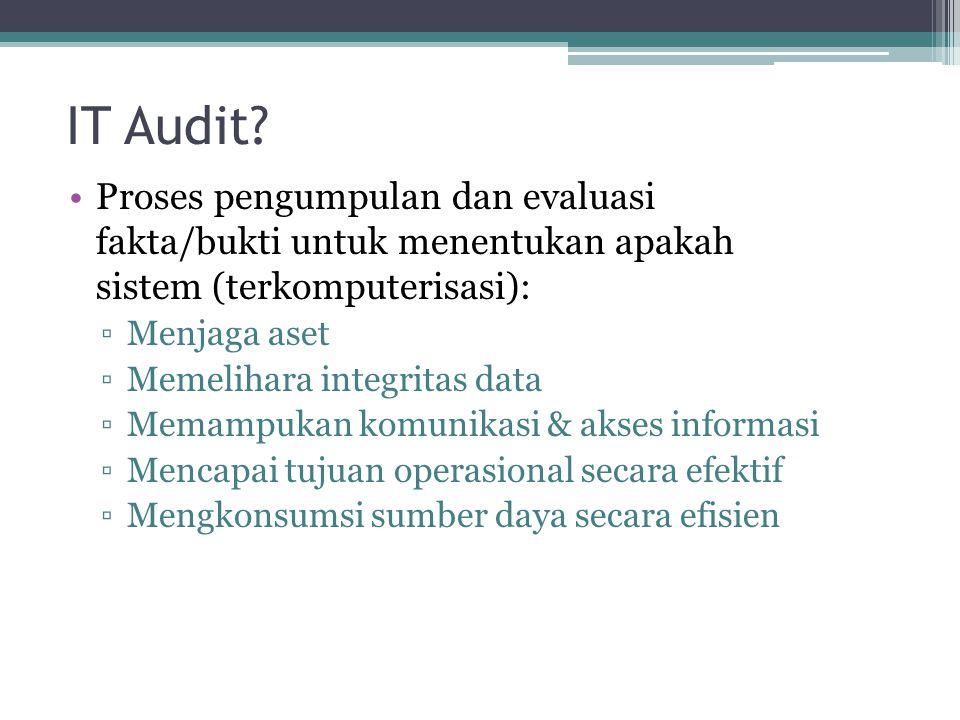 IT Audit Proses pengumpulan dan evaluasi fakta/bukti untuk menentukan apakah sistem (terkomputerisasi):