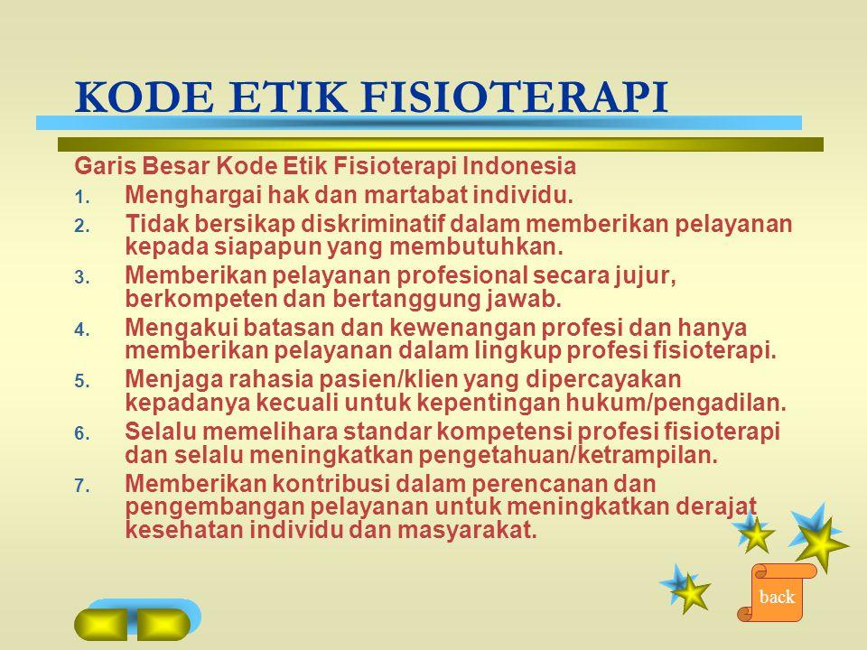 KODE ETIK FISIOTERAPI Garis Besar Kode Etik Fisioterapi Indonesia