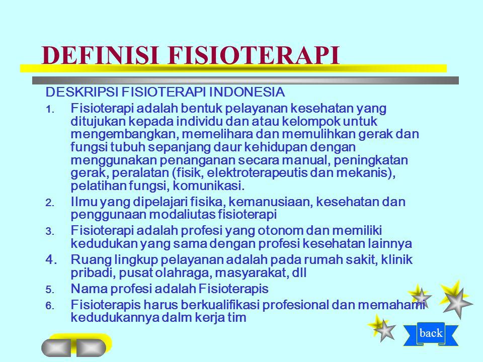 DEFINISI FISIOTERAPI DESKRIPSI FISIOTERAPI INDONESIA