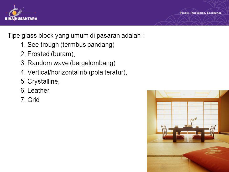 Tipe glass block yang umum di pasaran adalah : 1