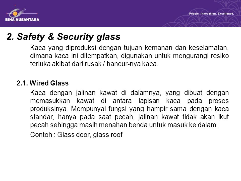 2. Safety & Security glass