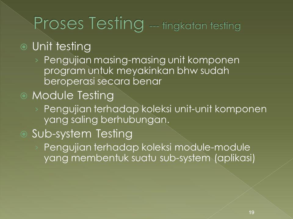 Proses Testing --- tingkatan testing