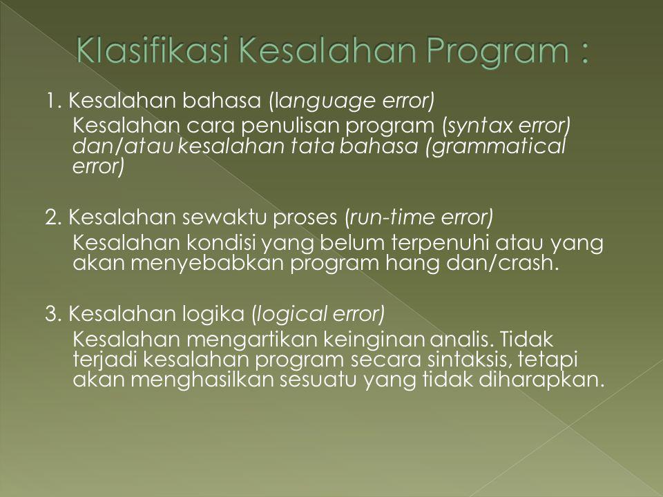Klasifikasi Kesalahan Program :