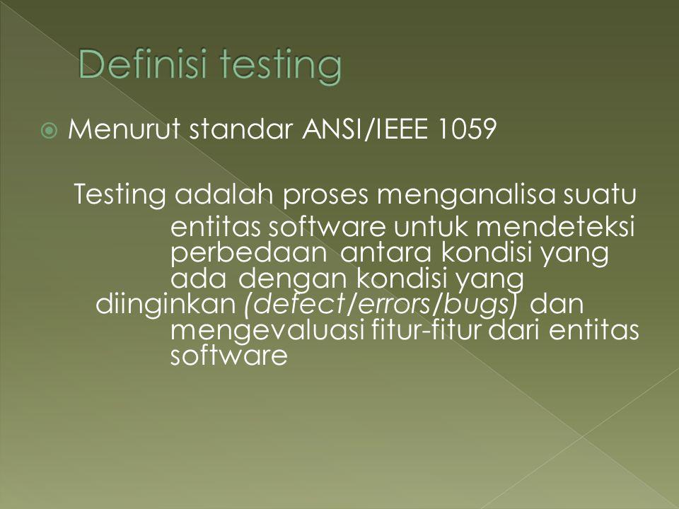 Definisi testing Menurut standar ANSI/IEEE 1059