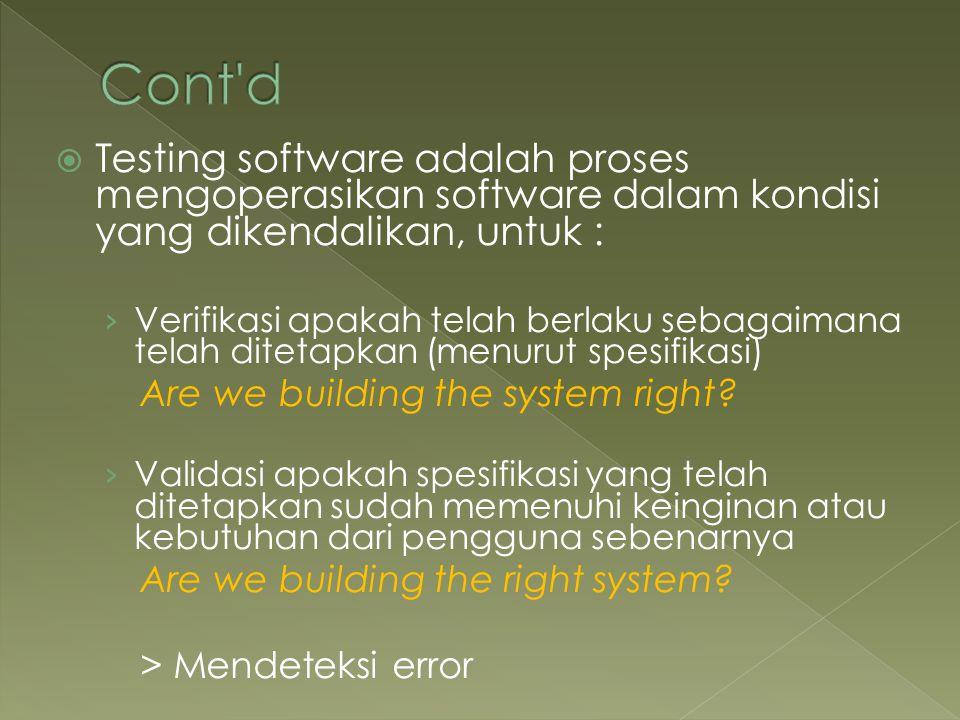 Cont d Testing software adalah proses mengoperasikan software dalam kondisi yang dikendalikan, untuk :