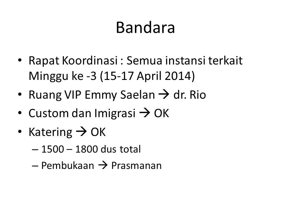 Bandara Rapat Koordinasi : Semua instansi terkait Minggu ke -3 (15-17 April 2014) Ruang VIP Emmy Saelan  dr. Rio.