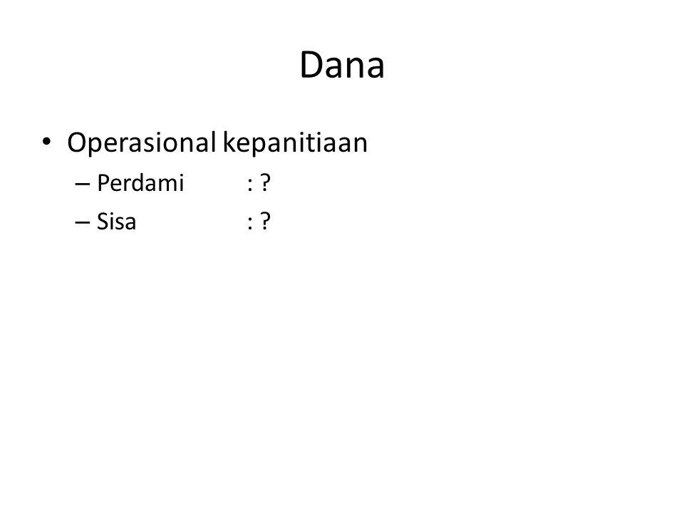 Dana Operasional kepanitiaan Perdami : Sisa :