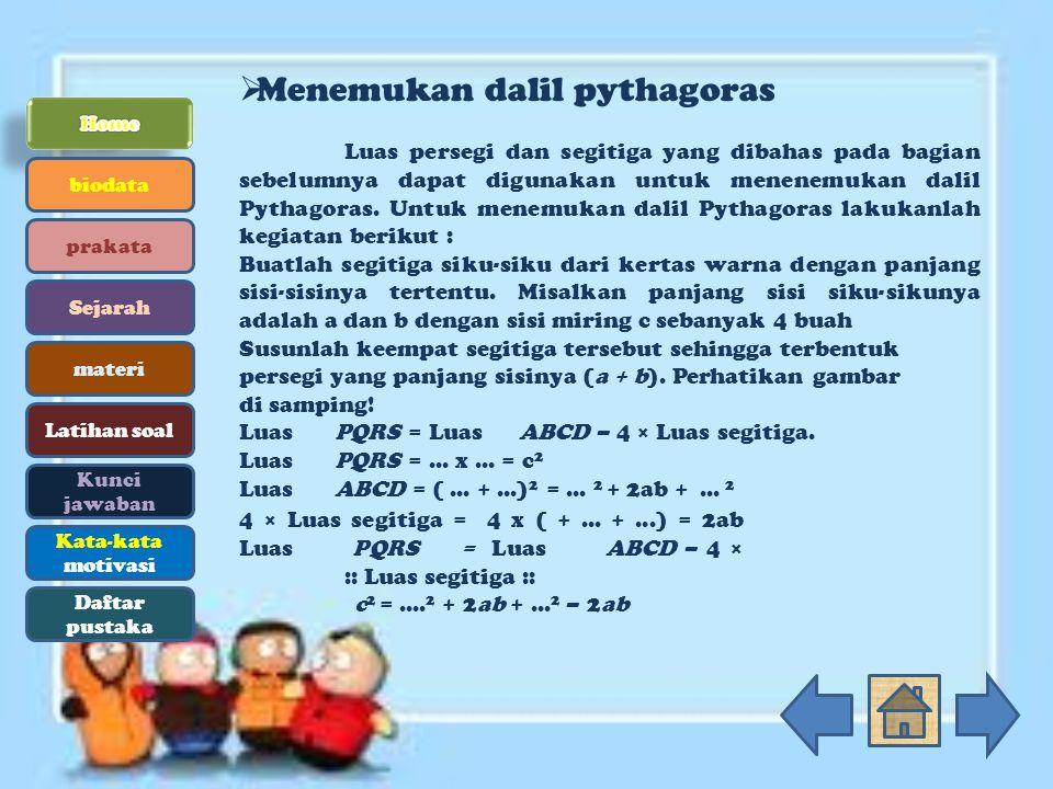 Menemukan dalil pythagoras