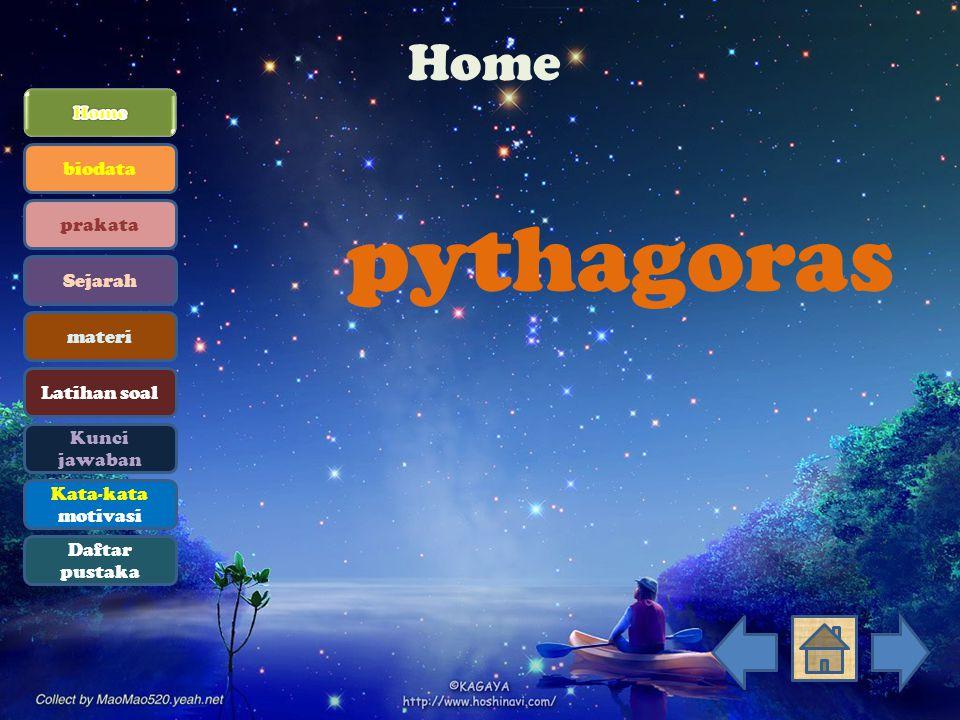 pythagoras Home Home biodata prakata Sejarah materi Latihan soal