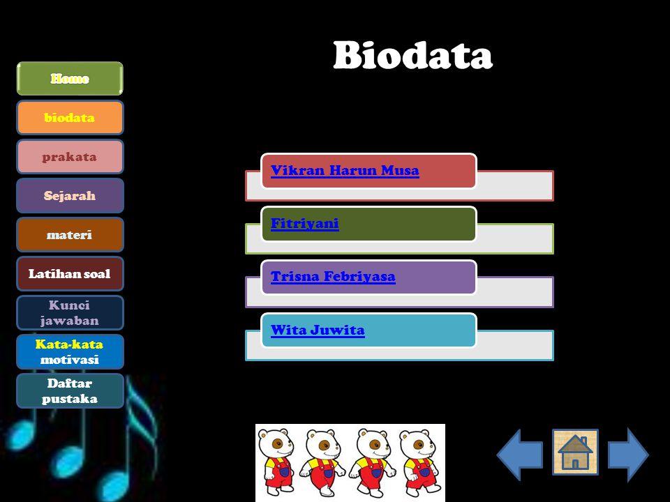 Biodata Home biodata prakata Sejarah materi Latihan soal Kunci jawaban