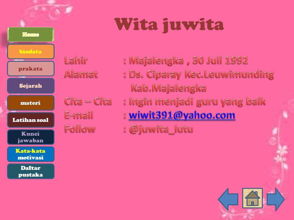 Wita juwita Lahir : Majalengka , 30 Juli 1992