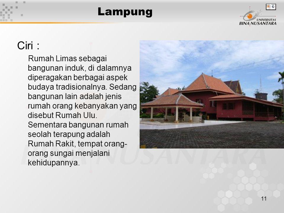 Lampung Ciri :