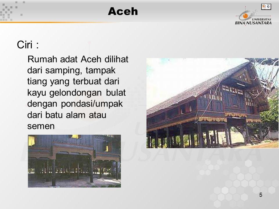 Aceh Ciri :