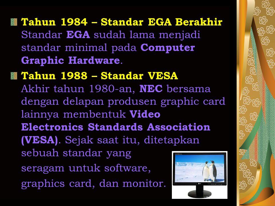 Tahun 1984 – Standar EGA Berakhir Standar EGA sudah lama menjadi standar minimal pada Computer Graphic Hardware.