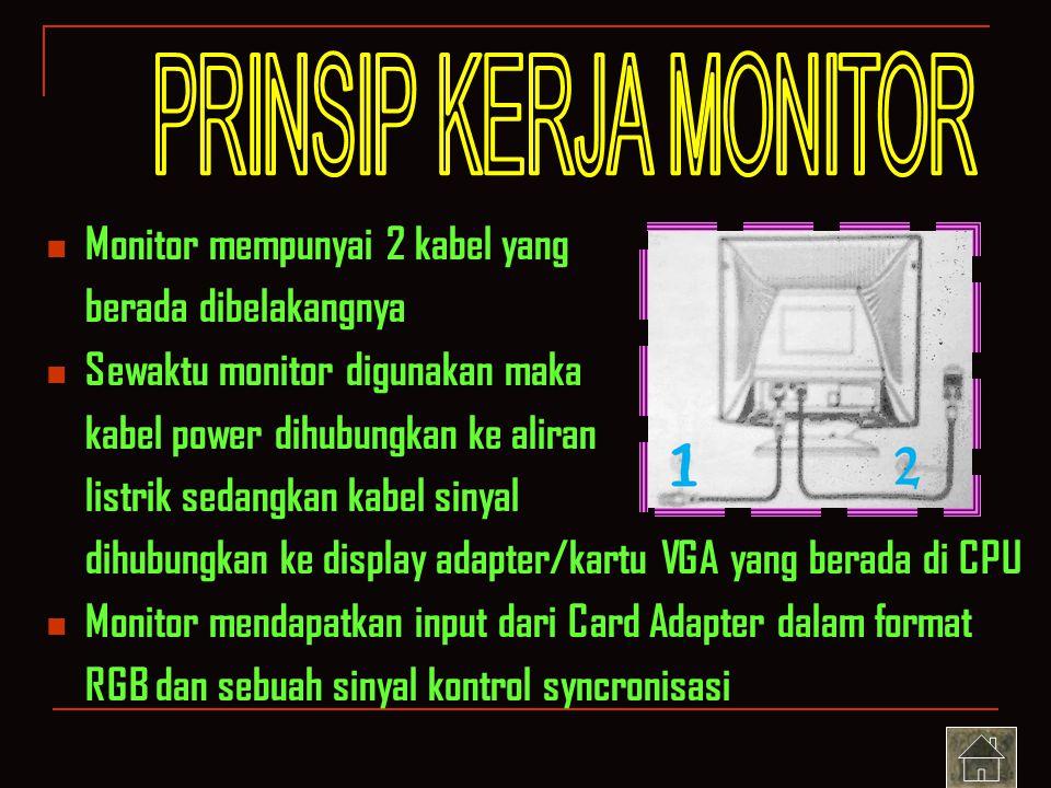 PRINSIP KERJA MONITOR Monitor mempunyai 2 kabel yang