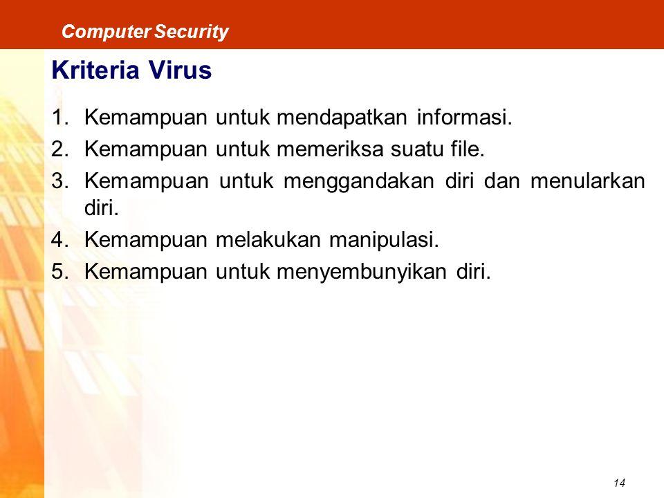 Kriteria Virus Kemampuan untuk mendapatkan informasi.
