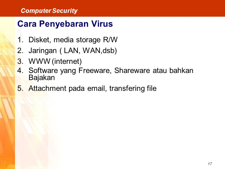 Cara Penyebaran Virus Disket, media storage R/W