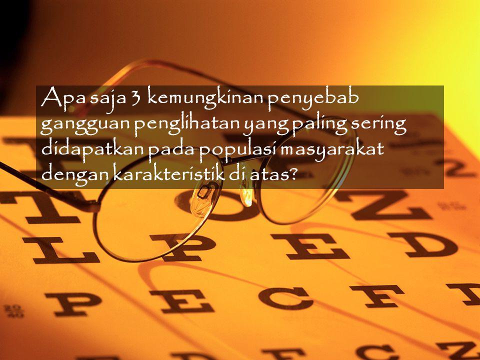 Apa saja 3 kemungkinan penyebab gangguan penglihatan yang paling sering didapatkan pada populasi masyarakat dengan karakteristik di atas