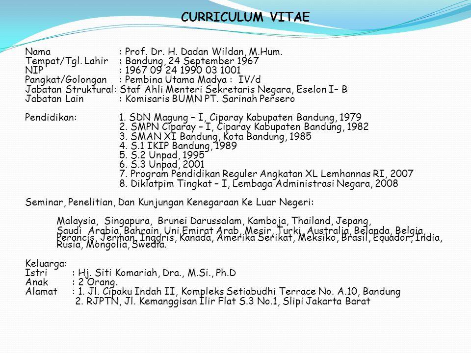 CURRICULUM VITAE Nama : Prof. Dr. H. Dadan Wildan, M.Hum.