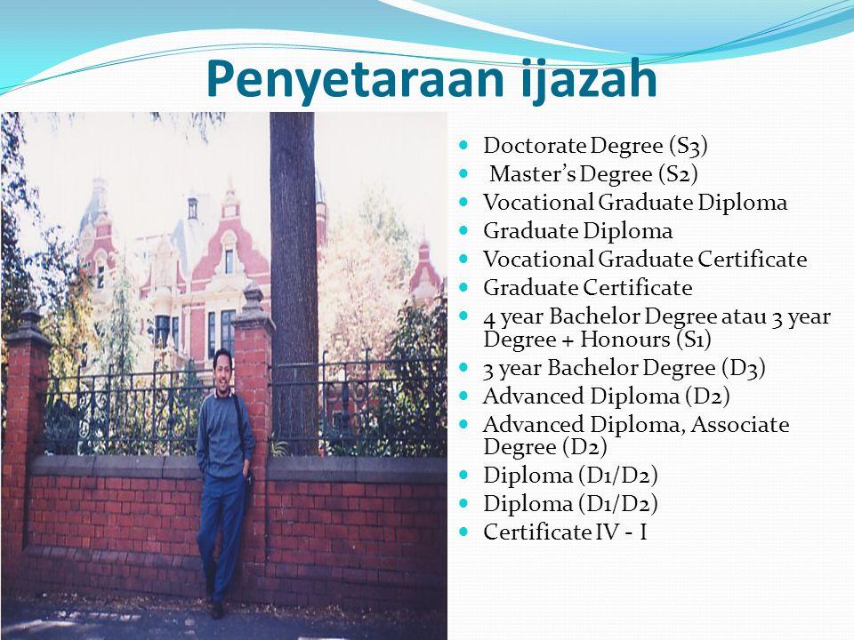 Penyetaraan ijazah Doctorate Degree (S3) Master's Degree (S2)