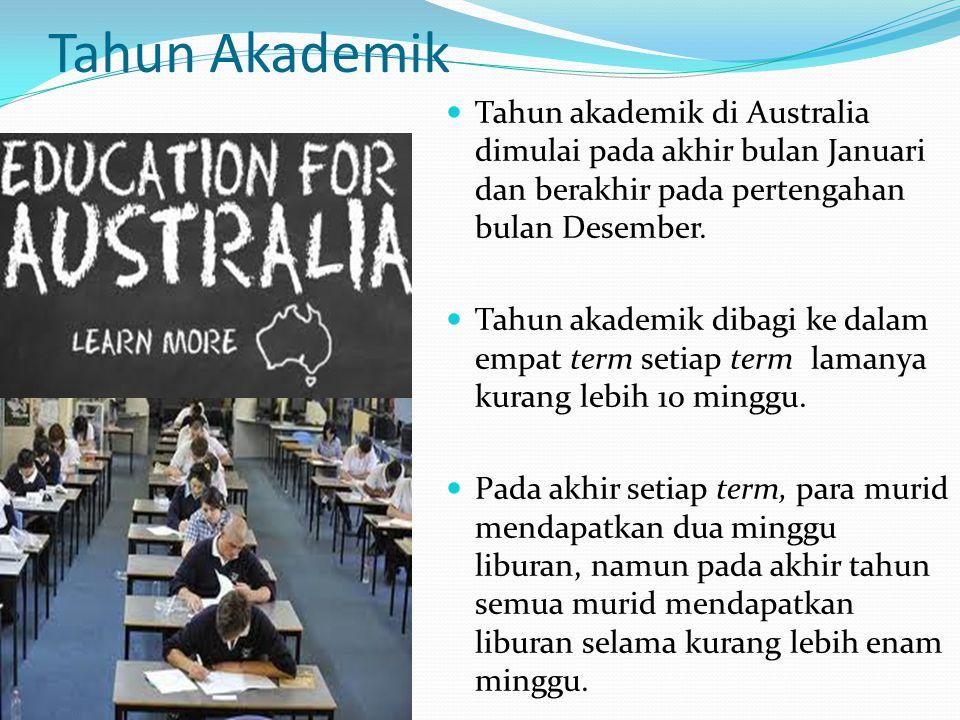 Tahun Akademik Tahun akademik di Australia dimulai pada akhir bulan Januari dan berakhir pada pertengahan bulan Desember.