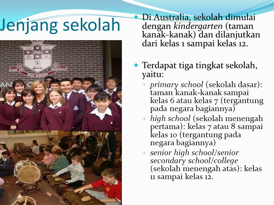 Jenjang sekolah Di Australia, sekolah dimulai dengan kindergarten (taman kanak-kanak) dan dilanjutkan dari kelas 1 sampai kelas 12.