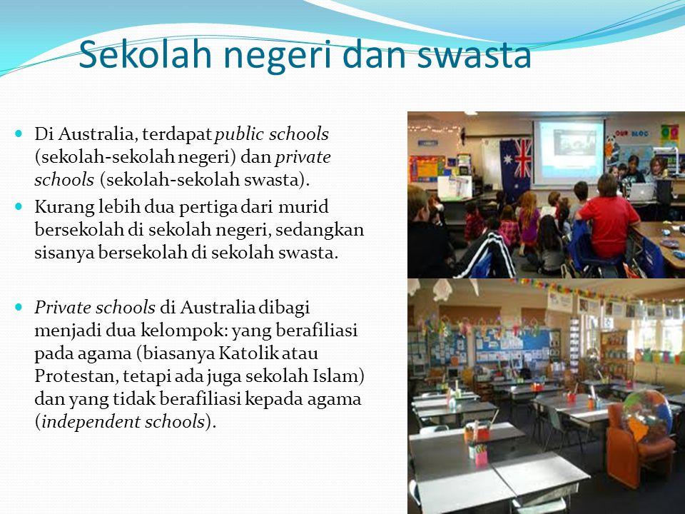 Sekolah negeri dan swasta