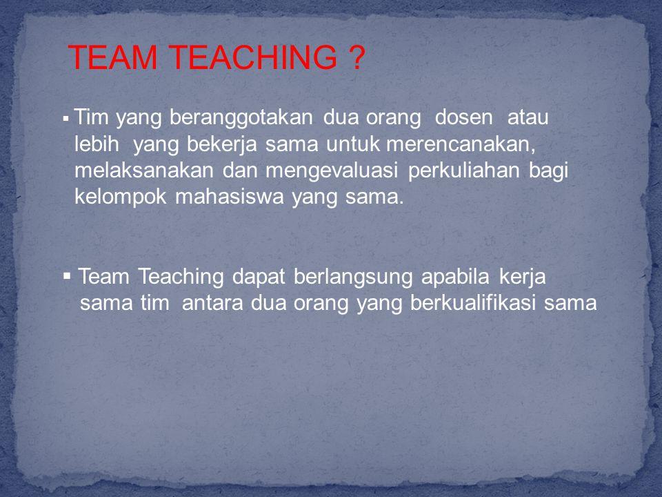 TEAM TEACHING lebih yang bekerja sama untuk merencanakan,