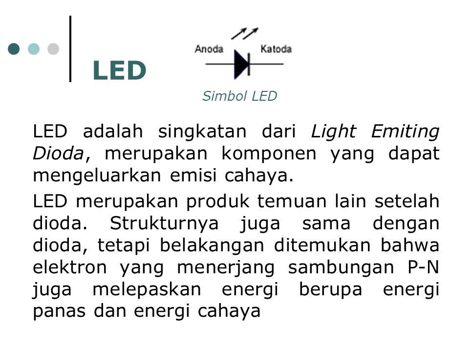 Simbol LED LED. LED adalah singkatan dari Light Emiting Dioda, merupakan komponen yang dapat mengeluarkan emisi cahaya.