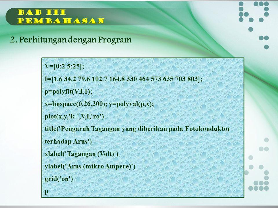 2. Perhitungan dengan Program