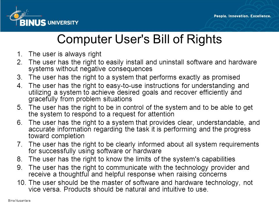 Computer User s Bill of Rights