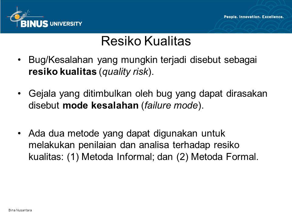 Resiko Kualitas Bug/Kesalahan yang mungkin terjadi disebut sebagai resiko kualitas (quality risk).