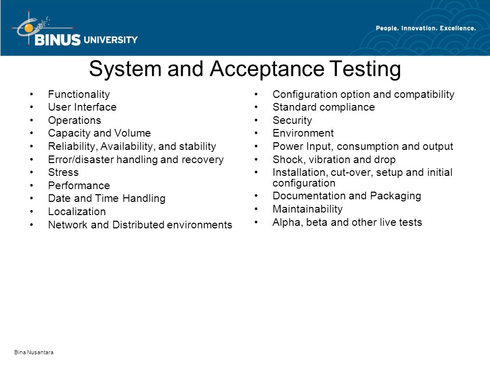 System and Acceptance Testing