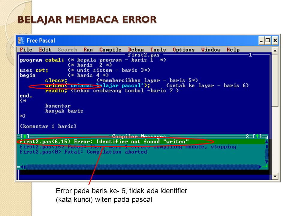 BELAJAR MEMBACA ERROR Error pada baris ke- 6, tidak ada identifier (kata kunci) witen pada pascal