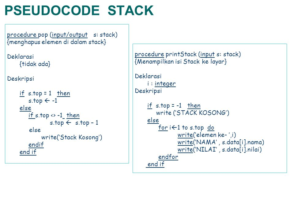 PSEUDOCODE STACK procedure pop (input/output s: stack)