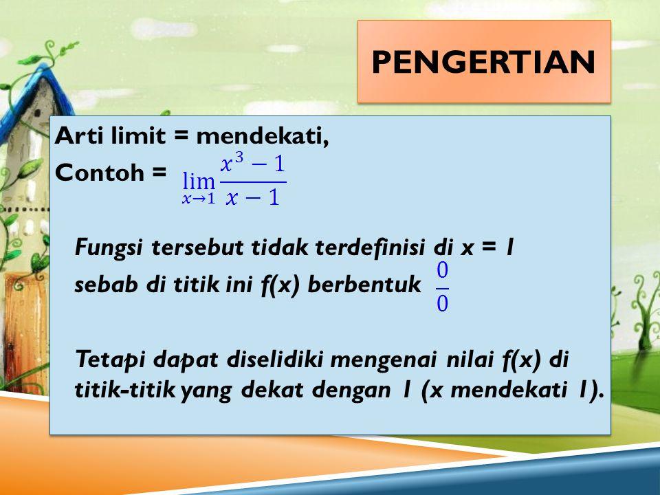 pengertian Arti limit = mendekati, Contoh =