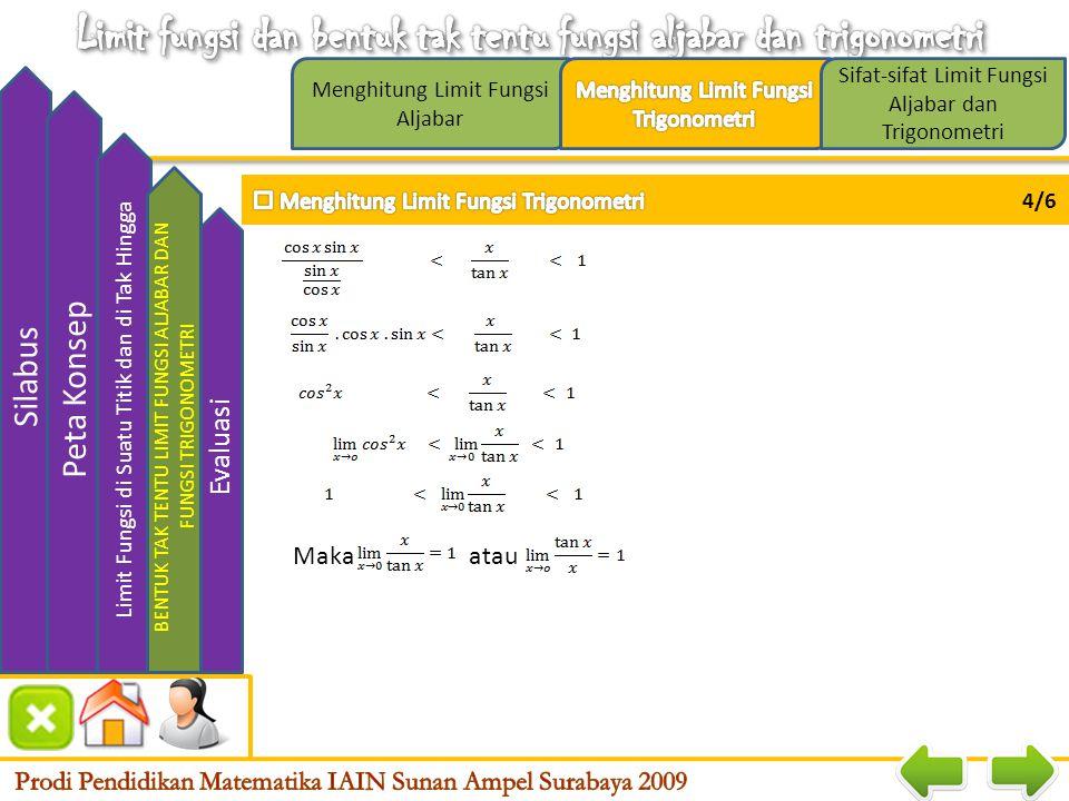 Limit fungsi dan bentuk tak tentu fungsi aljabar dan trigonometri