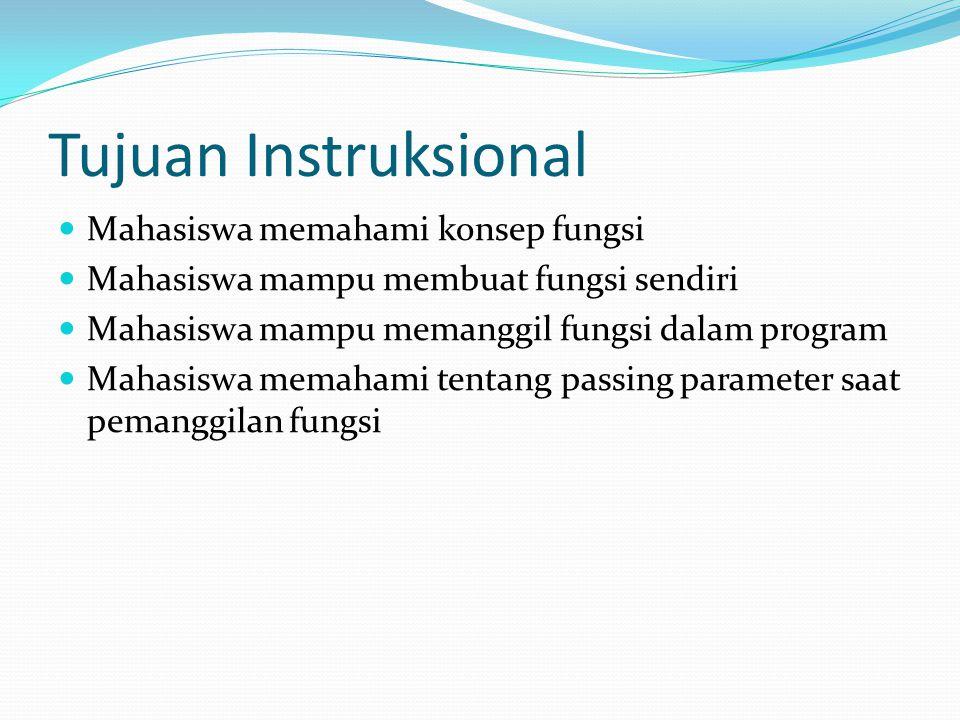Tujuan Instruksional Mahasiswa memahami konsep fungsi