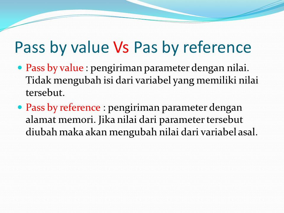 Pass by value Vs Pas by reference