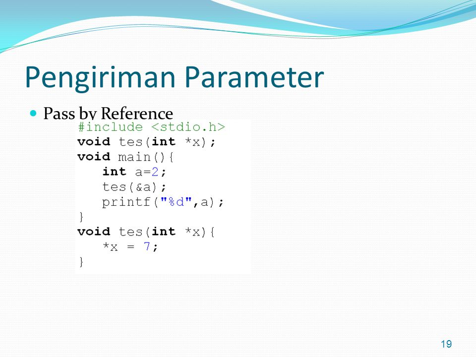 Pengiriman Parameter Pass by Reference