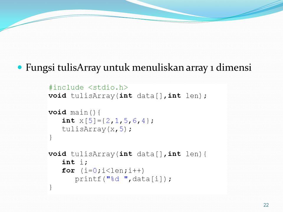 Fungsi tulisArray untuk menuliskan array 1 dimensi