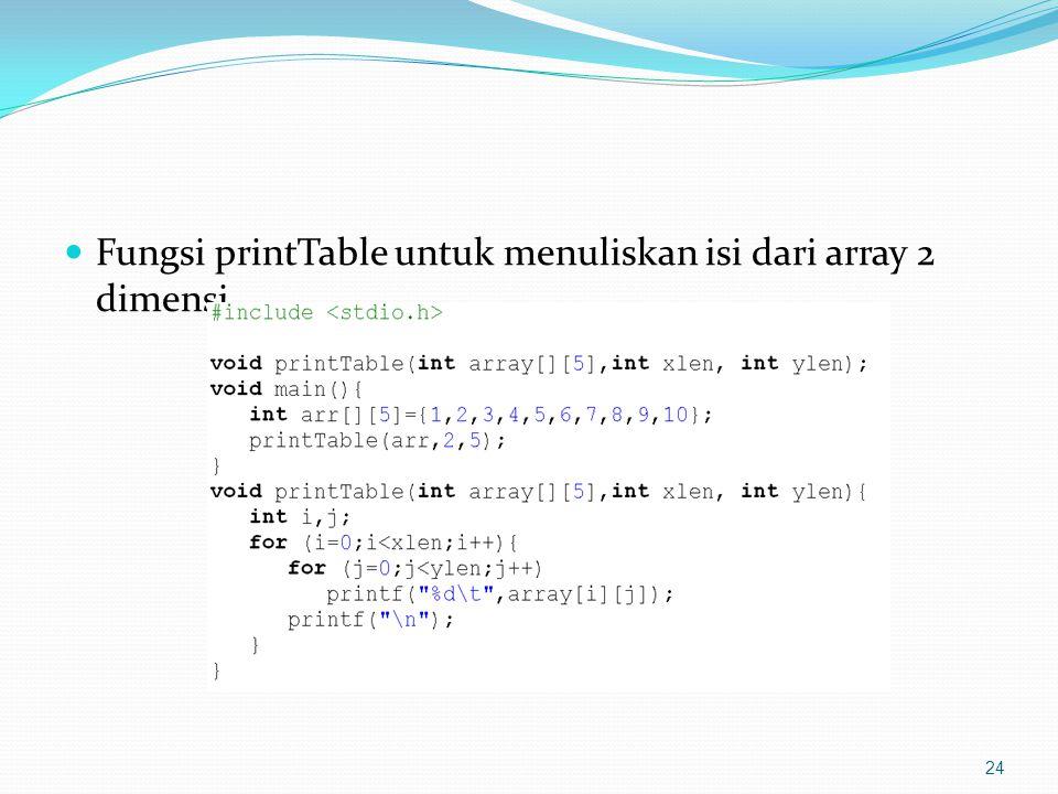 Fungsi printTable untuk menuliskan isi dari array 2 dimensi