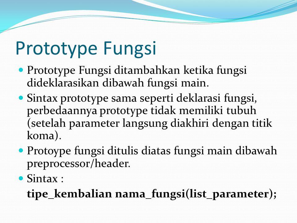 Prototype Fungsi Prototype Fungsi ditambahkan ketika fungsi dideklarasikan dibawah fungsi main.