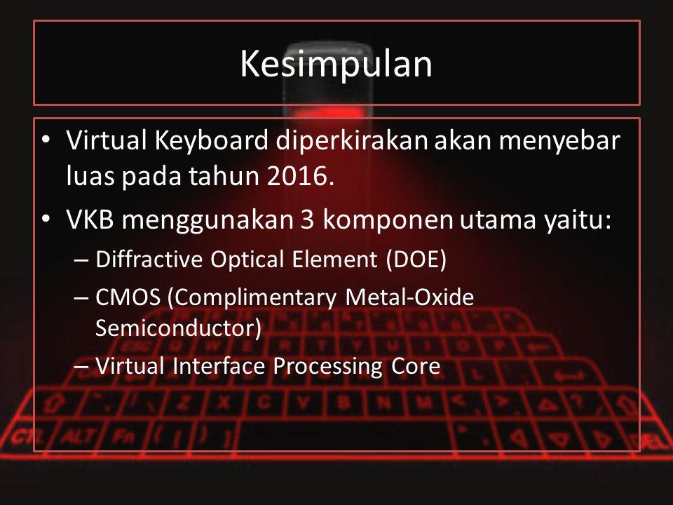 Kesimpulan Virtual Keyboard diperkirakan akan menyebar luas pada tahun 2016. VKB menggunakan 3 komponen utama yaitu: