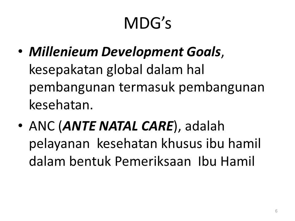 MDG's Millenieum Development Goals, kesepakatan global dalam hal pembangunan termasuk pembangunan kesehatan.