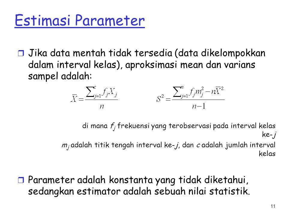 Estimasi Parameter Jika data mentah tidak tersedia (data dikelompokkan dalam interval kelas), aproksimasi mean dan varians sampel adalah: