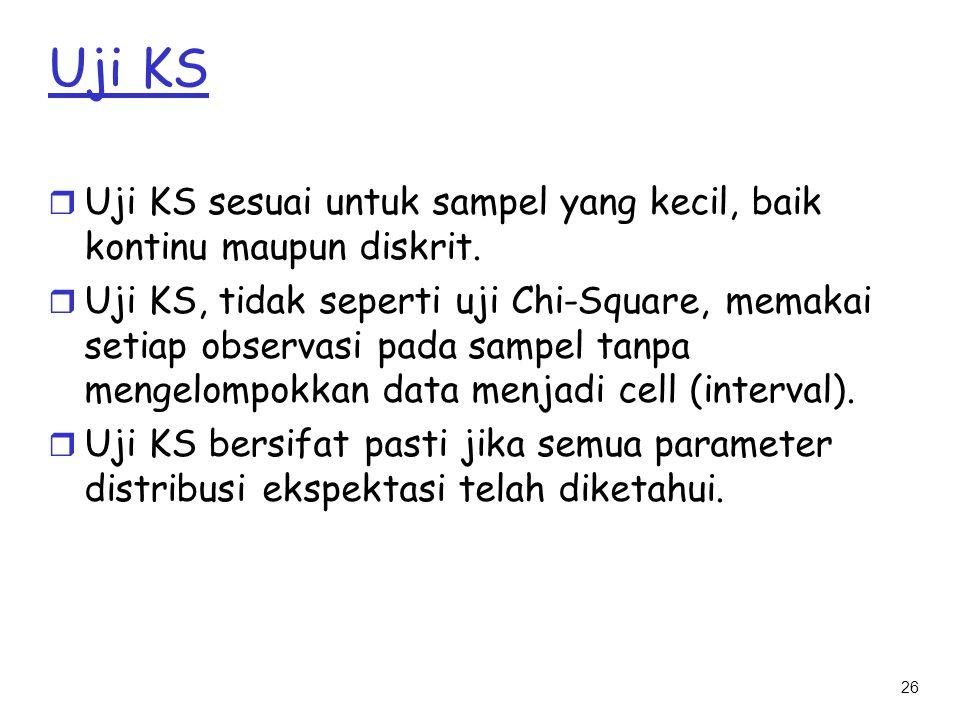 Uji KS Uji KS sesuai untuk sampel yang kecil, baik kontinu maupun diskrit.