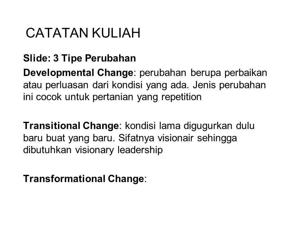 CATATAN KULIAH Slide: 3 Tipe Perubahan